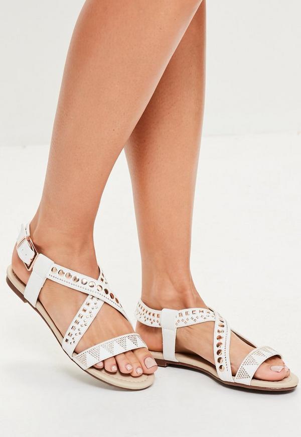 White Studded Cross Over Flat Sandals