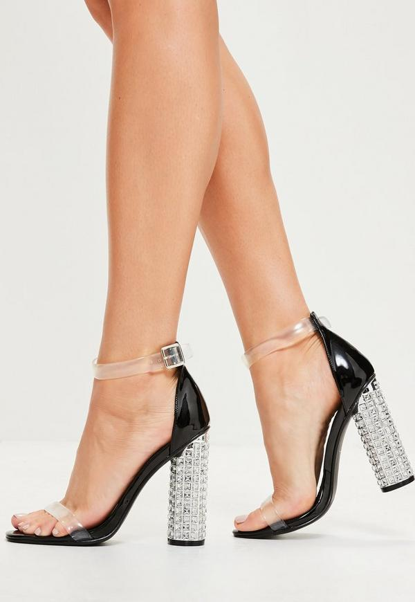 Black Rounded Strap Feature Block Heeled Sandals
