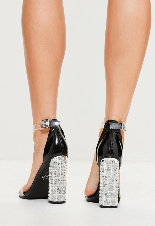 high heels mit strass blockabsatz in schwarz missguided. Black Bedroom Furniture Sets. Home Design Ideas