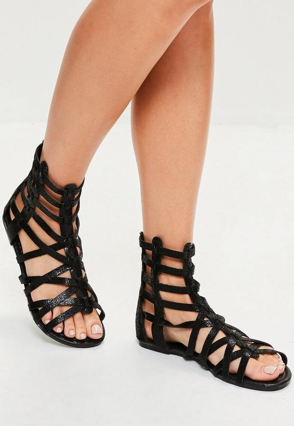 Black Gladiator Ankle Flat Sandals
