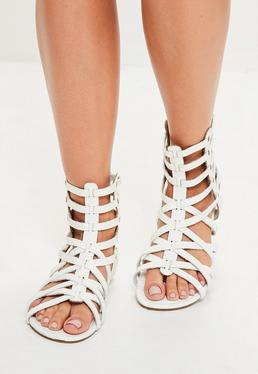 White Gladiator Ankle Flat Sandals