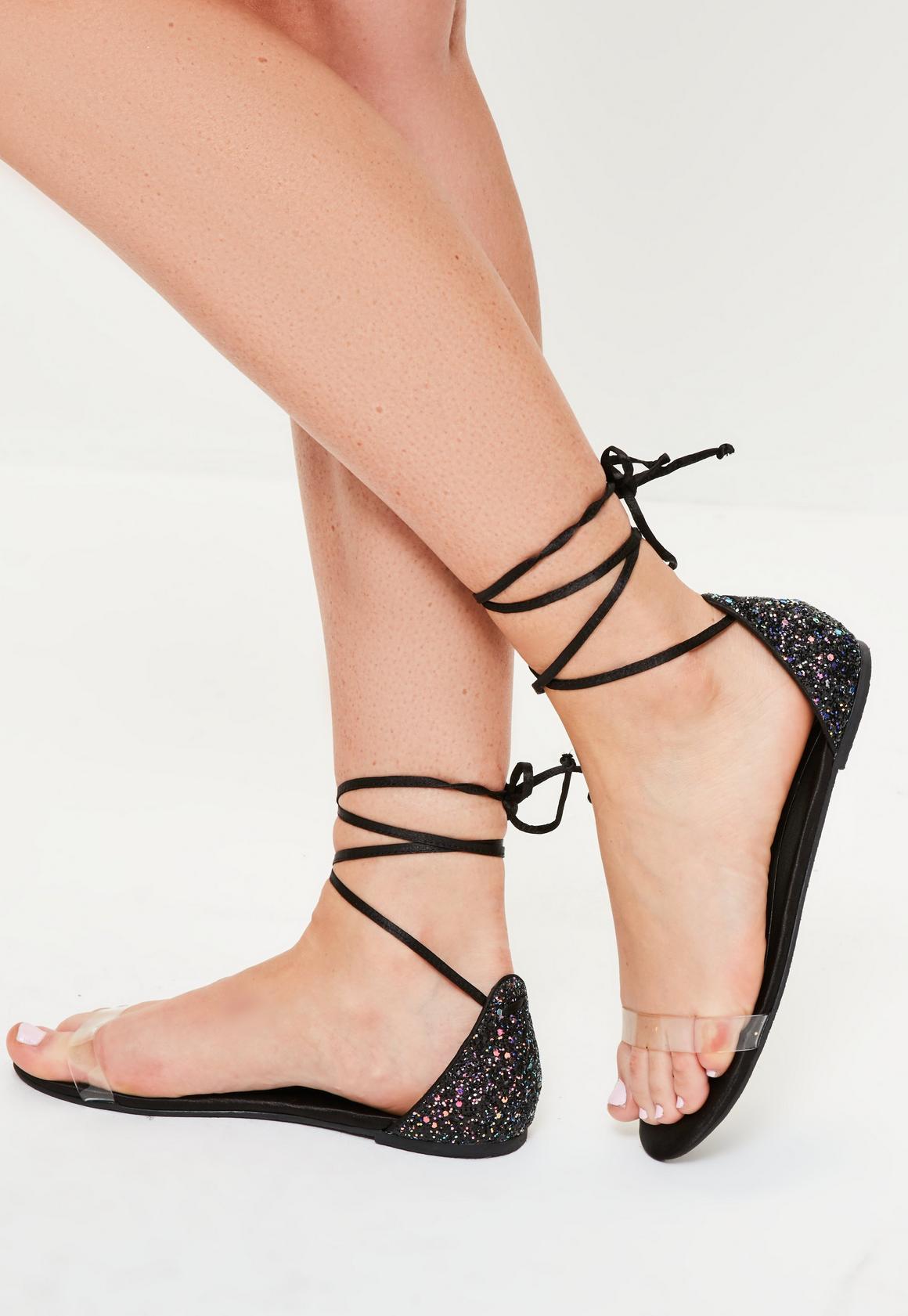 Black glitter sandals - Black Glitter Back Flat Sandals