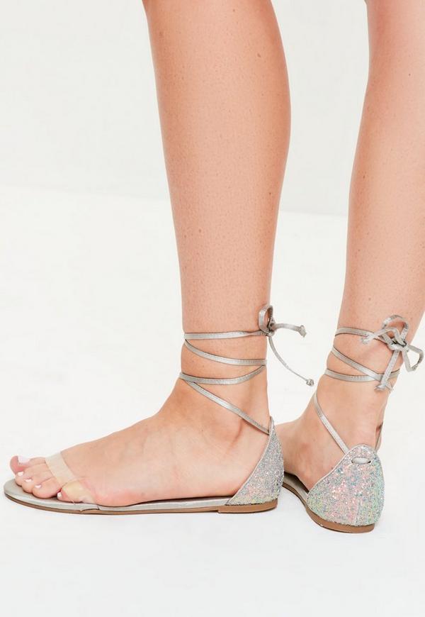 Grey Glitter Back Flat Sandals