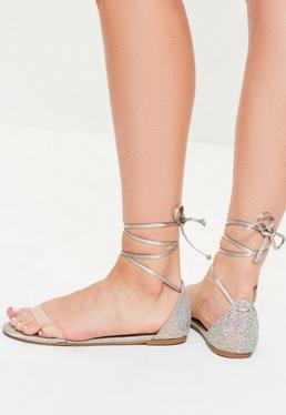 Grey Glitter Vamp Flat Sandals