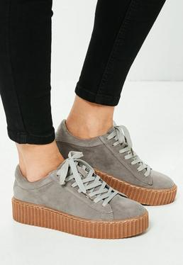 Grey Faux Suede Lace Up Platform Sneakers