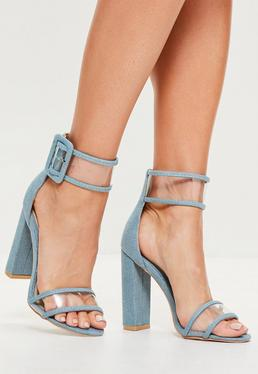 Blue Denim Clear Ankle Strap Block Heels