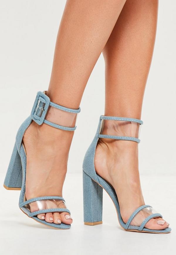 Blue Denim Clear Ankle Strap Block Heels