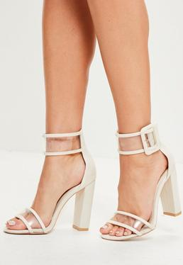 White Denim Clear Ankle Strap Block Heels