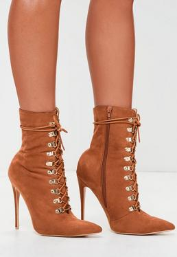 Peace + Love Brown Faux Suede Pointy Toe Boots