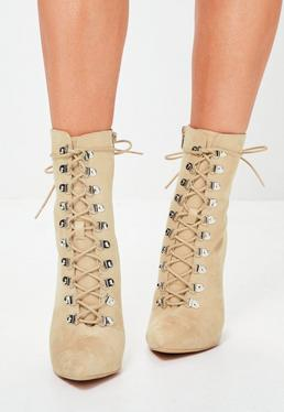 Peace + Love Nude Pointed Lace Up Ankle Boots