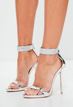 Peace + Love Silver Diamante Ankle Cuff Barely There Heels