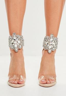 Peace + Love Beżowe mocno zdobione szpilki sandały zapinane na kostce