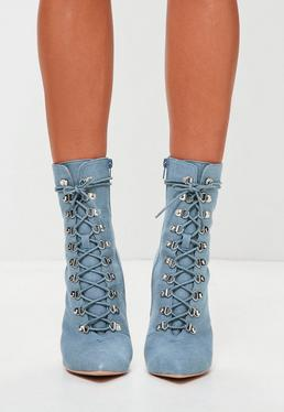 Peace + Love Blue Denim Lace Up Stiletto Boots