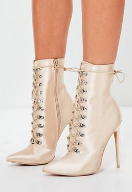 Peace + Love Nude Lace Up Stiletto Boots