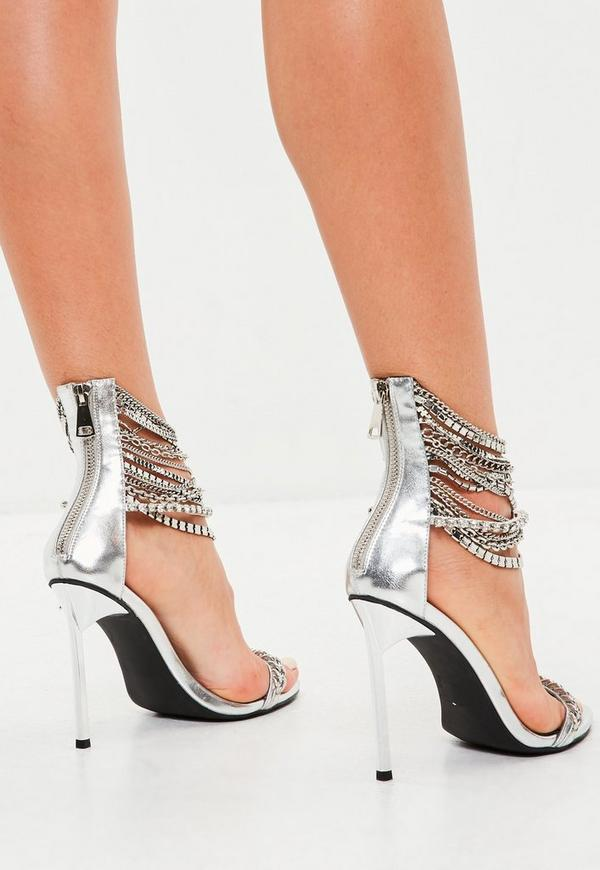 86f8ba3d763 ... Peace + Love Silver Metallic Chain Barely There Heels. Previous Next