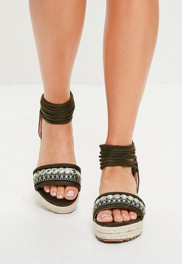Khaki Embroidered Wrap Ankle Flatform Sandals