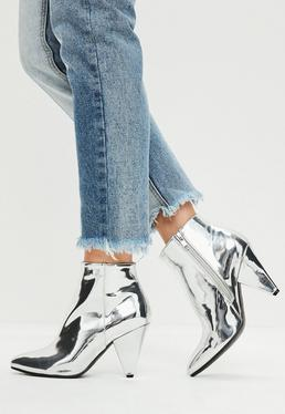 Silver Cone Heel Ankle Boots