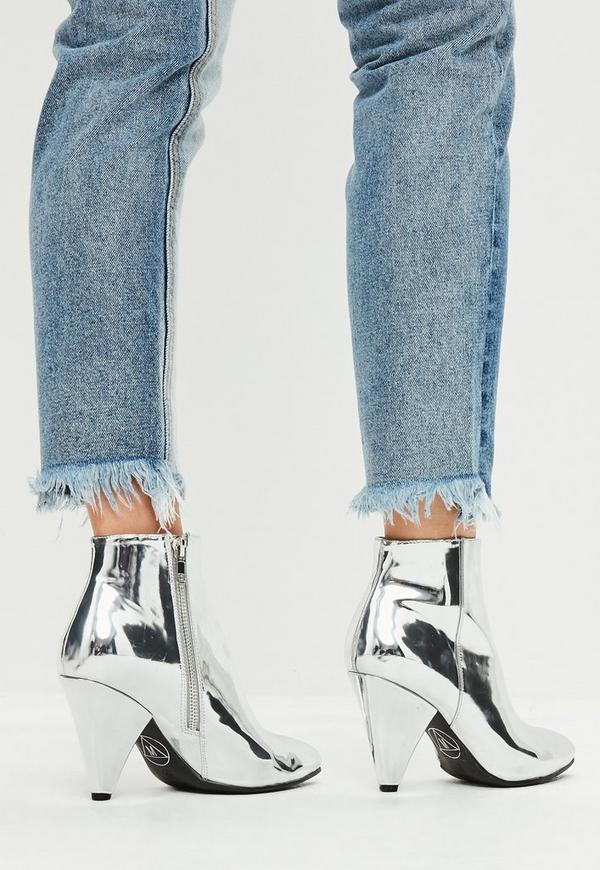 Silver Cone Heel Ankle Boots Missguided