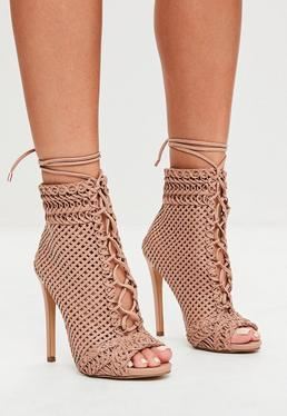 Beige Woven Peep Toe Ankle Boots