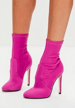 Pink Satin Round Toe Ankle Sock Boots