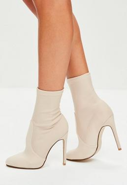 Nude Satin Round Toe Ankle Boots