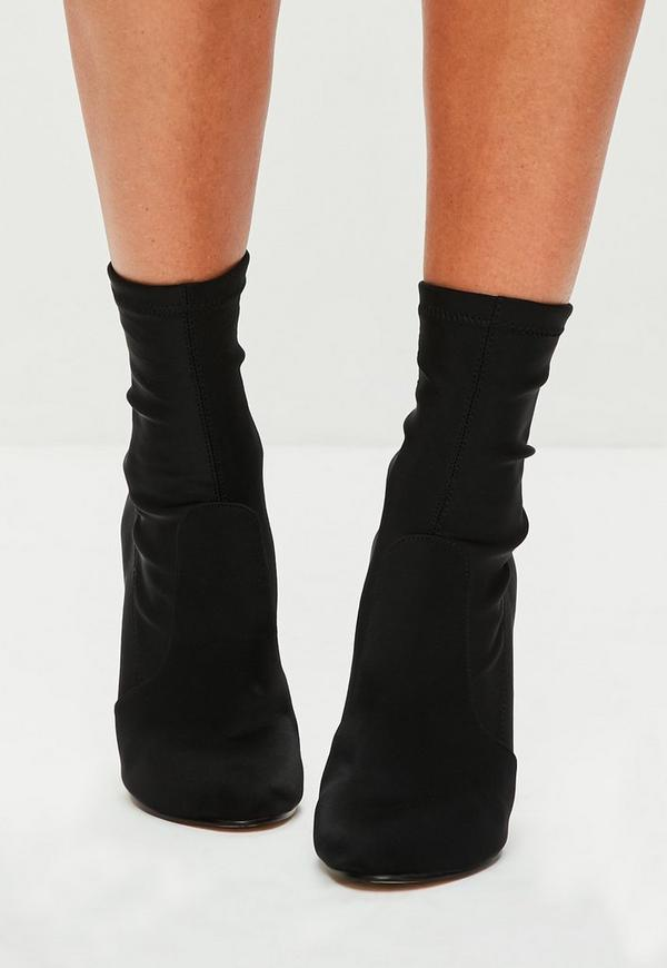 Adding An Outlet >> Black Satin Round Toe Ankle Boots | Missguided