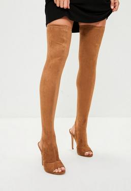 Tan Peeptoe Over The Knee Boots