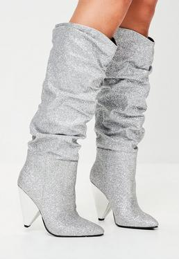 Silver Ruched Calf Boots