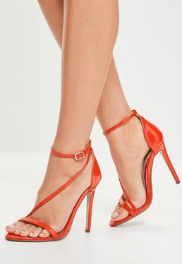 Red Asymmetric Strappy Sandals