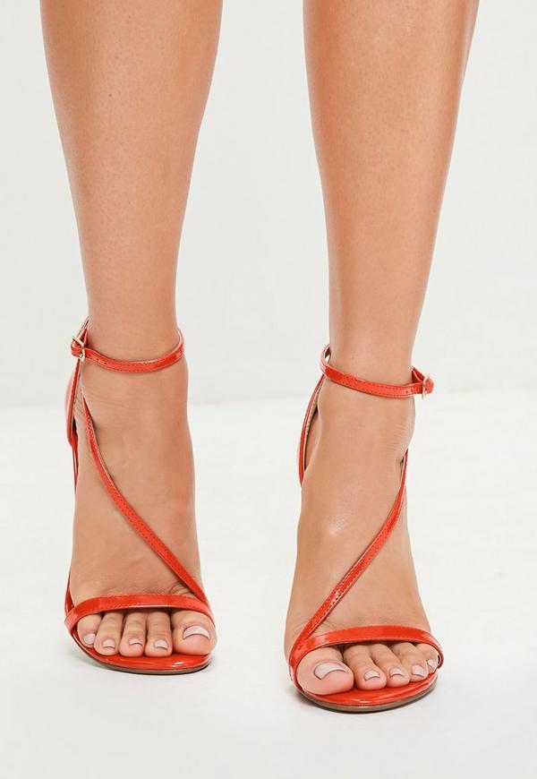 rote asymmetrische high heel sandalen missguided. Black Bedroom Furniture Sets. Home Design Ideas