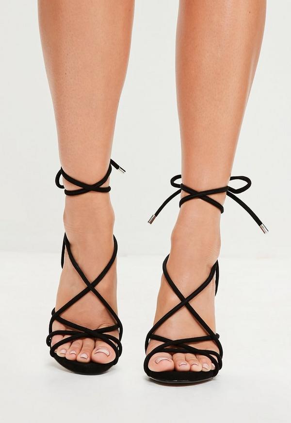 Black Rounded Strap Gladiator Heeled Sandals
