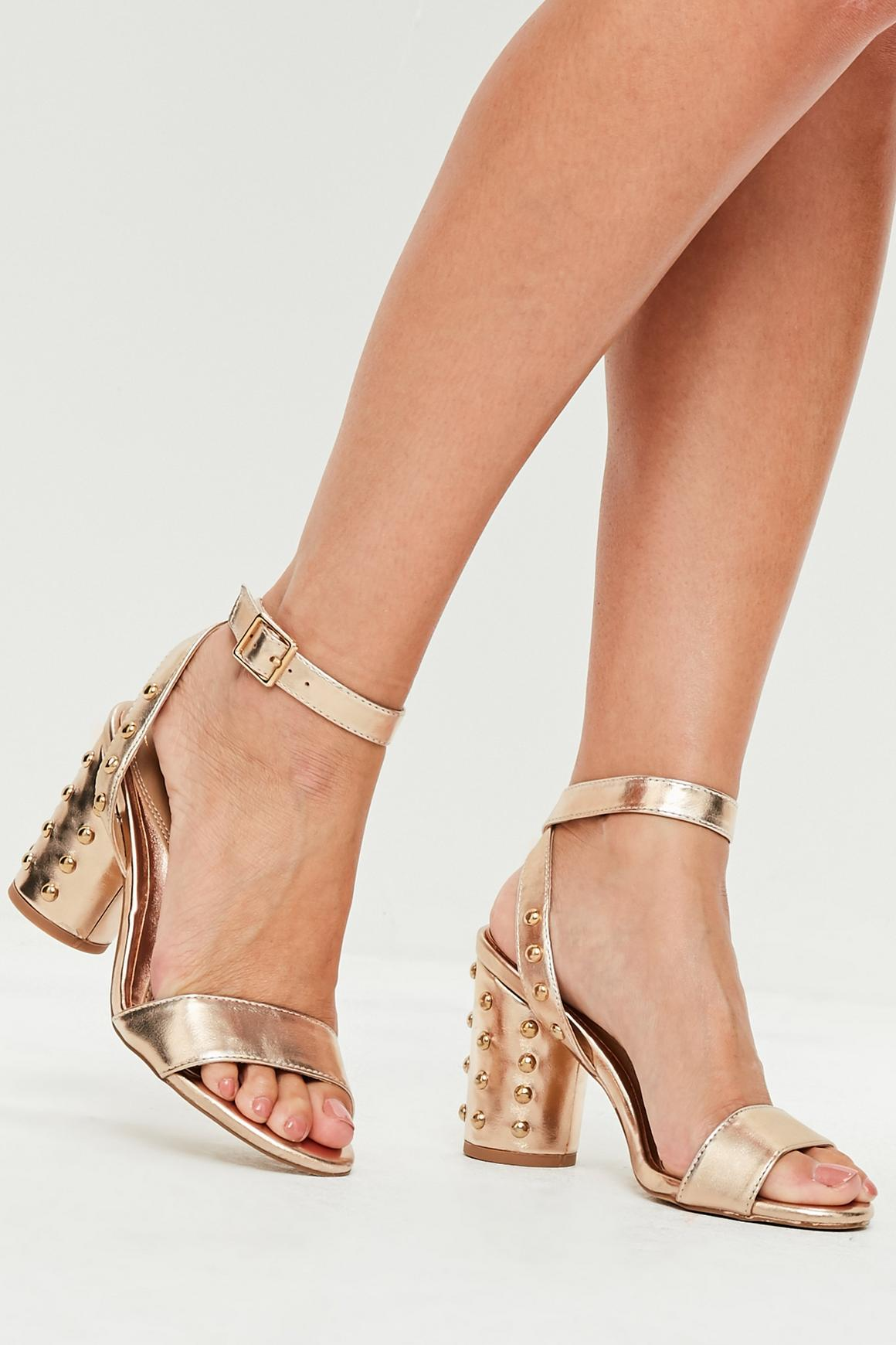 Rose Gold Stud Heel Sandals | Missguided