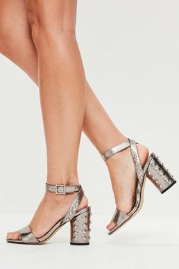 Grey Stud Heel Sandals