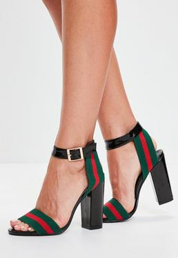 Black Striped Detail Block Heeled Sandals
