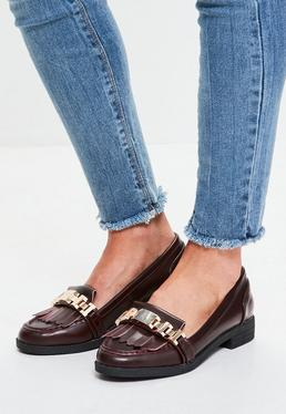 Burgundy Chain Tassel Loafers