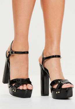 Black Vinyl Studded Platform Sandals