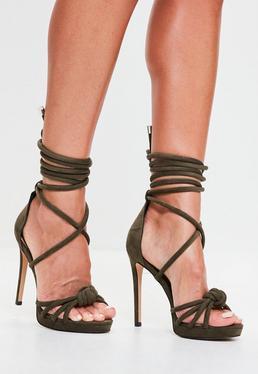 Khaki Knot Front Platform Heeled Sandals