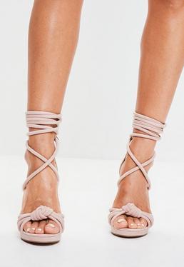 Nude Knot Front Platform Sandals