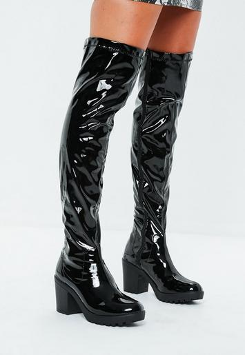 Black Cleated Sole Vinyl Over The Knee Boots Missguided