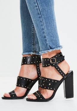 Black Cuff and Studded Block Heel Sandals