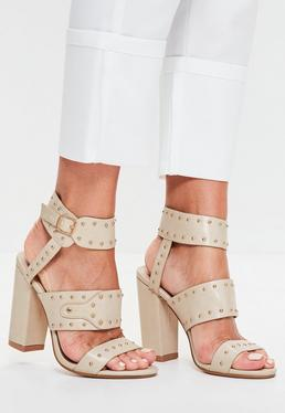 Nude Cuff and Studded Block Heeled Sandals