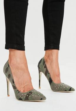 Khaki Camouflage Studded Court Shoes