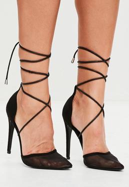 Black Mesh Ankle Tie Court Shoes