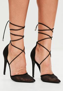 Black Mesh Ankle Tie Court Shoes