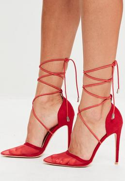 Red Mesh Ankle Tie Court Shoes