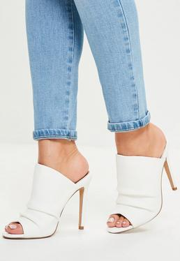 White Ruched Open Toe Heeled Mules