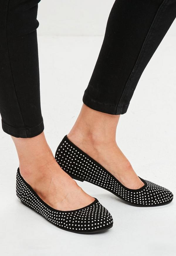 Black Studded Flat Shoes | Missguided