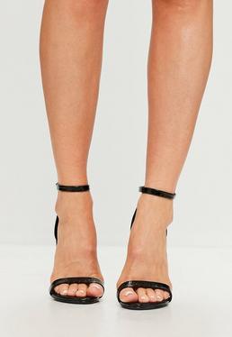 Sandalias de tacón con doble tira en negro