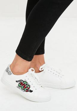 White Snake Embroidered Sneakers
