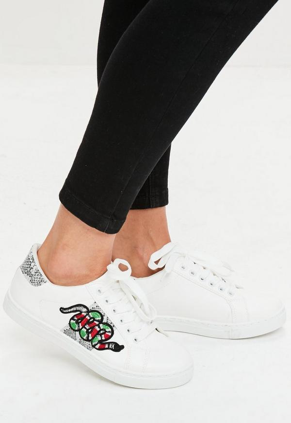 White Snake Embroidered Trainers